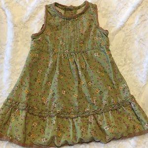 Green corduroy Floral pattern dress 2T